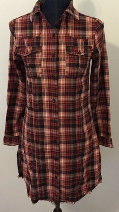 Japna Juniors Size Small Plaid Western Style Distressed Shirt Dress Long Tunic…