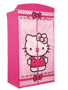 Penderie en tissus Hello Kitty, elle comprend une housse en tissu, une structure en metal, une barre de suspension et deux ouvertures enroulables. Cette penderie apportera une ambiance girly à la chambre de votre fille. #rangement #chambreenfant