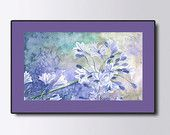Lilac Wall decor, Christmas gift idea, Lavender Summer flowers Landscape, Print of  Watercolor painting