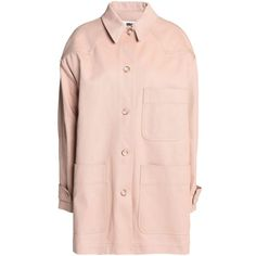 Mm6 Maison Margiela Cotton-twill jacket ($260) ❤ liked on Polyvore featuring outerwear, jackets, blush, pink jean jacket, long sleeve jacket, jean jacket, pink jacket and pink waist belt