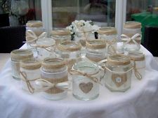 SHABBY CHIC/VINTAGE WEDDING DECORATED GLASS JAR TEA LIGHT HOLDERS/FAVOURS x 15