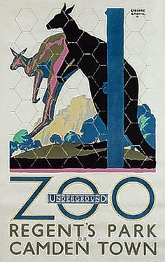London Zoo by Underground. By Gregory Brown, 1927 Vintage London, Old London, London Transport, London Travel, Public Transport, Zoo Art, Transport Posters, Transportation Posters, British Travel