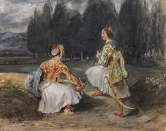 Lot 90 Ferdinand-Victor-Eugène Delacroix (Charenton-Saint-Maurice Paris) Two Greek soldiers in a clearing in a forest Delacroix Paintings, Greek Traditional Dress, Eugène Delacroix, Greek Soldier, Independence War, Greek Warrior, Greek History, Ferdinand, Famous Artists