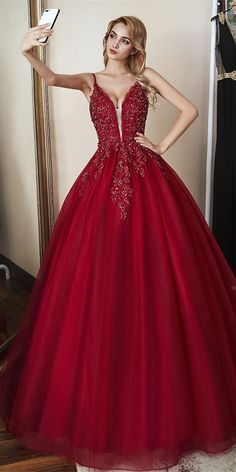 red long prom gown 2020