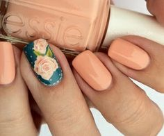 teal and peach nails