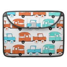 Retro Camping Trailer Turquoise Orange Vintage Car MacBook Pro Sleeve