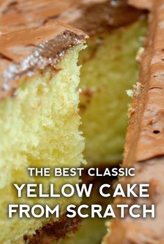 In our family, Grandma was the type of woman who had a freshly baked cake sitting on the counter whenever company was expected. Even if that company was just the neighbor dropping by to return recipes Grandma's (From-Scratch) Chocolate-Frosted Yellow Cake Dessert Cake Recipes, Homemade Cake Recipes, Cake Mix Recipes, Baking Recipes, Yellow Cake Recipes, Easy Homemade Cake, Homemade Vanilla Cake, Moist Vanilla Cake, Homemade Yellow Cakes