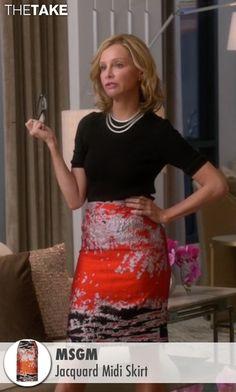 MSGM  Jacquard Midi Skirt as seen on Cat Grant in Supergirl | TheTake.com