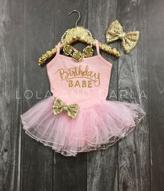 Birthday Ballerina tutu dress in pink & gold. I found this really awesome Etsy listing at https://www.etsy.com/listing/220464554/birthday-babe-tutu-dress-in-pink-and