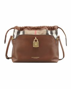 Drawstring Check Crossbody Bag, Brown by Burberry at Neiman Marcus.