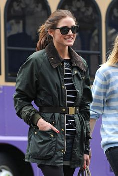 Olivia Palermo's belted jacket and stripe tee