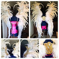 My DIY version of the famous Victoria's Secret Angel wings... Designed and created for a photo shoot this week  I used Coque tail feathers, ostrich drabs, marabou, chandelle trim, wire, fairy dust glitter, sequins & rhinestones. Very pleased with the look!!
