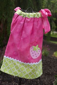 12-18 Month Cute little strawberry appliqued Pillow Case Dress. Single shoulder tie. Pair this with a long ...
