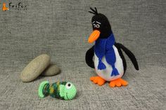 Knit penguin with Fish - Paul and Phybie by #FerFoxDesign #amigurumi #penguin #fish #bird #knit_toy #knitting