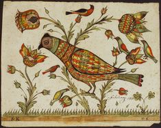 Fraktur Bird Bucks County, PA ~circa 1834