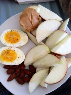 Awesome Breakfast -  Hard Boiled Eggs, Almonds, Apples & Peanut Butter