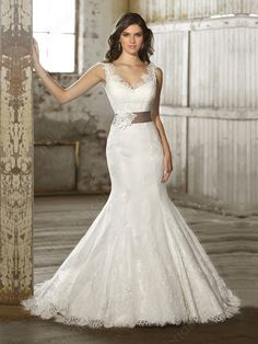 Trumpet/Mermaid Off-the-shoulder Lace Satin Chapel Train White Sashes / Ribbons Wedding Dresses at Millybridal.com $284