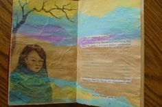 altered journal page by Mary Clare with tissue paper and colored pencil.