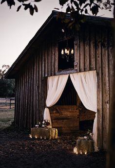 white curtains at barn entrance