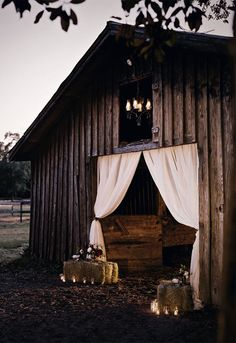 white curtains at barn entrance