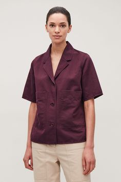 COS | Open lapel-collar cotton shirt Cos Jackets, Cos Tops, Casual Wear, Men Casual, Burgundy Top, White Shirts, Fashion Over 50, Contemporary Fashion, Fashion Brand
