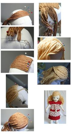 Amigurumi Doll Hair - Tutorial, possible way of doing roving hairdoll hair tutorial --- very similar to how i do it when i make a doll with hair.Talks about brand she uses-jcHow to give a rag doll hair text is in russian but the pictures are pretty g Yarn Dolls, Fabric Dolls, Crochet Dolls, Diy Yarn Doll Hair, Crochet Hair, Doll Crafts, Diy Doll, Doll Clothes Patterns, Doll Patterns