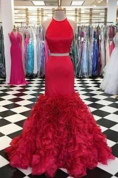 Red satin two pieces long mermaid ruffles evening dress, long senior prom dress, Shop plus-sized prom dresses for curvy figures and plus-size party dresses. Ball gowns for prom in plus sizes and short plus-sized prom dresses for Senior Prom Dresses, Gold Prom Dresses, Prom Dresses Two Piece, Unique Prom Dresses, Prom Dresses For Sale, Mermaid Evening Dresses, Prom Dresses Online, Prom Party Dresses, Formal Evening Dresses