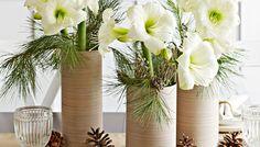 Love this simple amaryllis centerpiece.