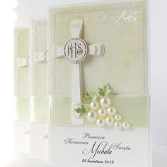 Kommunionskarte - so edel First Communion Cards, Holy Communion Invitations, Première Communion, First Holy Communion, Confirmation Cards, Memory Box Cards, Christian Cards, Handmade Invitations, Card Making Inspiration