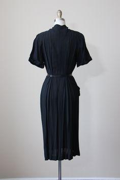 40s Dress Vintage 1940s Dress Black Emerald Green by jumblelaya