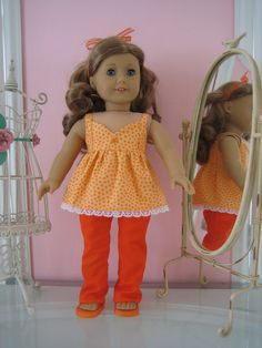 Cami Suntop, Sandals and Pants made to fit 18 inch American Girl doll, orange