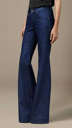 Indigo Flare Fit Jeans   Burberry