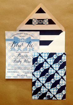 Sweet #invitation to a #bowtie baby shower I Custom by Nico and Lala