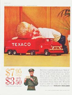 """Description: 1959 TEXACO vintage magazine advertisement """"Buddy-L toy Texaco Tank Truck"""" -- Here's how to get this custom-made """"Buddy-L"""" toy Texaco Tank Truck delivered to your door for only $ 3.50 (certified retail value -- $ 7.95). -- Size: The dimensions of the full-page advertisement are approximately 10.5 inches x 13.5 inches (26.75 cm x 34.25 cm). Condition: This original vintage full-page advertisement is in Excellent Condition unless otherwise noted."""