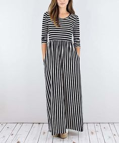 Look at this éloges Black Stripe Pocket Maxi Dress on #zulily today!