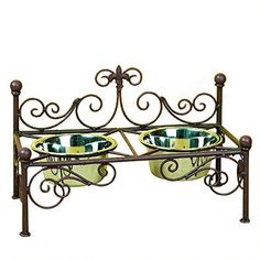 Vintage style French iron work scroll in rustic metal with a set of 2 bowls.  A great look for French Country, Vintage and Elegant pet home decor styles.  #pethome #Frenchquarter #neworleans #frenchiron