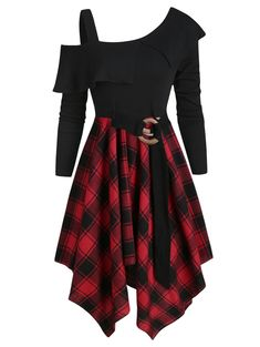Shop a great selection of DRESSFO Women Plaid Tunic Dress Tops Long Sleeve Skew Neck Irregular Dress. Find new offer and Similar products for DRESSFO Women Plaid Tunic Dress Tops Long Sleeve Skew Neck Irregular Dress. Plaid Tunic, Plaid Dress, Tartan Plaid, Dress Red, Long Sleeve Tunic Dress, Long Sleeve Tops, Mode Harry Potter, Mode Punk, Jugend Mode Outfits