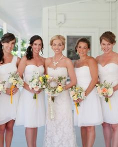 I like how you can still tell who the bride is even though they're all wearing white. #wedding #bridesmaids