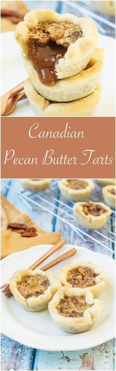 Recipe for Canadian Pecan Butter Tarts. Butter Tarts are a Canadian treat with a flakey crust and a sweet, caramel-like filling. No Bake Treats, No Bake Desserts, Delicious Desserts, Dessert Recipes, Dessert Tarts, Finger Desserts, Baking Desserts, Yummy Food, Canadian Butter Tarts