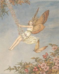 Buy your Fairy Swing Vintage Artwork by Vintage Artwork here. A fairy wearing warm autumn colors enjoys swinging in the garden in this Fairy Swing Vintage Artwork. Art And Illustration, Fairy Dust, Fairy Tales, Vintage Fairies, Ouvrages D'art, Fairytale Art, Flower Fairies, Vintage Artwork, Magical Creatures