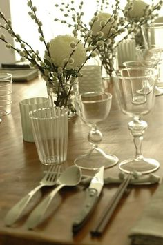 Table settings.  Pussy willow