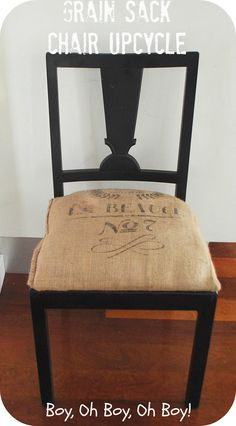 upcycled kitchen chair - love the burlap chair cover