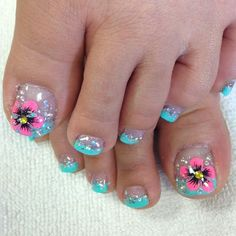 43 of the Best Nail Art on Toes Toes! 43 of the Best Nail Art on Toes - Toes! 43 of the Best Nail Art on Toes - Pretty Toe Nails, Cute Toe Nails, Hot Nails, Pretty Toes, Hair And Nails, Glitter Toe Nails, Toenail Art Designs, Flower Nail Designs, Nail Polish Designs