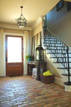Brick floors, would love this for an entryway!