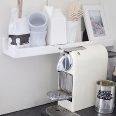 White Nespresso machine Espresso Coffee, Coffee Love, Coffee Shop, Nespresso Machine, Scandinavian Design, Minimalist Design, Kitchen Appliances, Interior Design, Extension Ideas