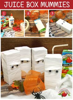 These DIY Juice Box Mummies are the perfect decoration for any Halloween party!