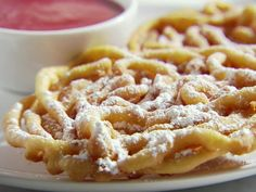 easy funnel cakes recipe | Funnel Cakes with Strawberry Sauce Recipe : Sandra Lee : Recipes ...