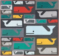 Preppy Pod quilt sewing pattern from Elizabeth Hartman. By popular demand, Elizabeth has created a quilt pattern including multiple sizes of her popular Preppy the Whale block pattern. Vintage Quilts Patterns, Modern Quilt Patterns, Sewing Patterns, Sewing Ideas, Modern Quilting, Quilting Projects, Quilting Designs, Quilting Ideas, Sewing Projects