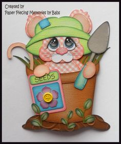 Garden Mouse Premade Paper Piecing Die Cut for Scrapbook Page byBabs