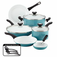 Freshen up easy, everyday meal-making and worry less about cleanup, with the brilliant cooking performance of the colorful, durable and dishwasher-safe Farberware® purECOok Ceramic Nonstick 12-Piece Cookware Set.